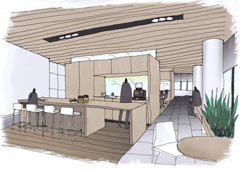 Outline sketch drawing  and paint of a interior space,canteen