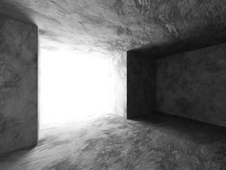 Dark concrete empty room interior. Urban architecture background