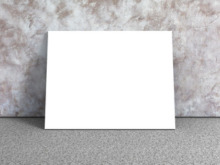White blank poster in empty urban room. Concrete wall
