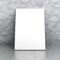 White blank billboard postere on concrete floor and wall