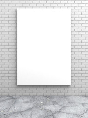 White blank poster on brick wall
