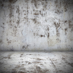 Dark old concrete wall empty room interior. Grunge architecture