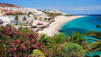 View on the beach Playa de Morro Jable. Fuerteventura, Spain.