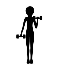 silhouette with woman dumbbell hand vector illustration