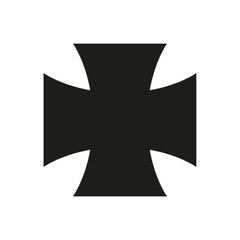 Iron Cross Icon black silhouette. Ancient Christian sign. Vector illustration.