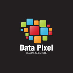 abstract data pixel logo icon