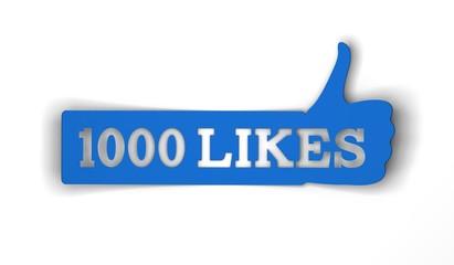 1000 likes thumbs up social media banner