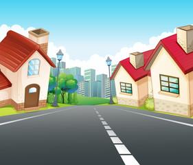 Neighborhood scene with many houses along the road
