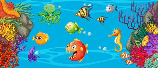 Scene with many fish underwater