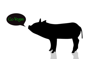 Vector silhouette of pig.