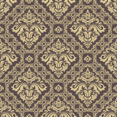 Seamless oriental ornament in the style of baroque. Traditional classic pattern. Brown and golden pattern