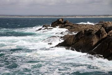 Côte rocheuse en Bretagne, saint-Guénolé,Pors carn