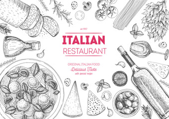Italian cuisine top view frame. Italian food menu design. Vintage hand drawn sketch vector illustration. Fotomurales