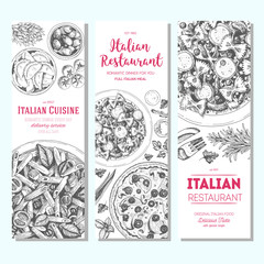 Italian food vintage design template. Vertical banners set. Vector illustration hand drawn linear art. Italian Cuisine restaurant menu. Hand drawn sketch vector banners.