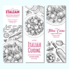 Italian food vintage design template. Vertical banners set. Vector illustration hand drawn linear art. Italian Cuisine restaurant menu. Hand drawn sketch vector banners.