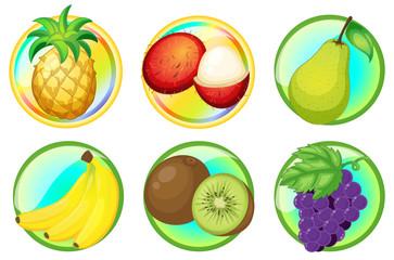 Fresh fruits on round badges