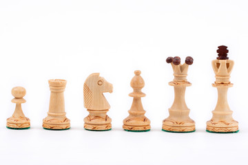 Chess pieces on the white background