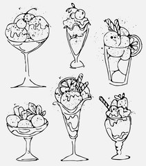 Set Ice cream - sketched isolated icecream on white background