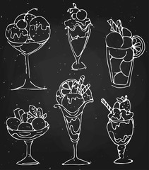 Set Ice cream illustration - sketched dessert on black chalkboard