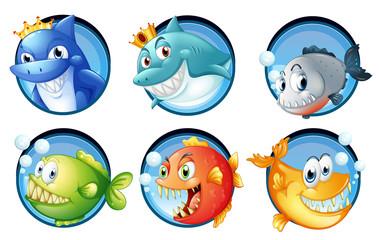Sea animals on round badges