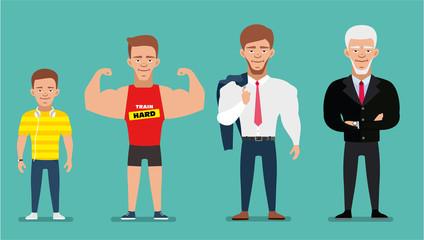 Cartoon characters showing age progress. People Generations. European man. Flat