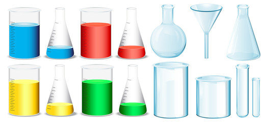 Science equipment with beakers and tubes