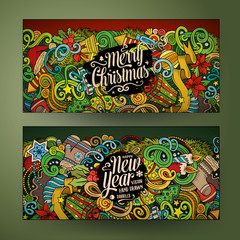 Cartoon doodles New Year holidays banners
