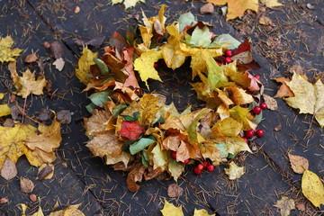 Amazing autumn crown. Beautiful coronet. Signs of fall