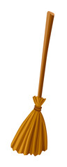 Witch broomstic. Vector illustration. Broom isolated on white background. Halloween accessory object.
