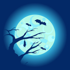 Halloween night background with dry tree and bats vector illustration
