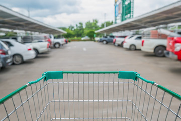 shopping cart in the supermarket car parking