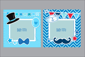 Photo Frames For Kids. Decorative Template For Baby Boy. Scrapbook Vector Illustration. Baby Boy Photo Framework. Photo Frames Collage For Boy. Postcard Frame, Child Album.