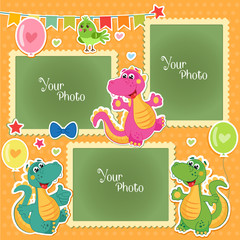 Photo Frames For Kids With Dinosaurs. Decorative Template For Baby, Family Or Memories. Scrapbook Vector Illustration. Birthday Children'S Photo Framework - Stock Vector. Photo Frames Collage.