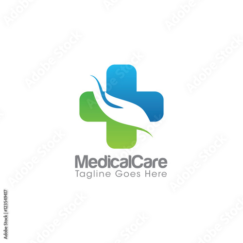 medical care creative concept logo design template stock image and