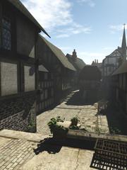Wall Mural - Medieval Street in Early Morning Mist - fantasy illustration
