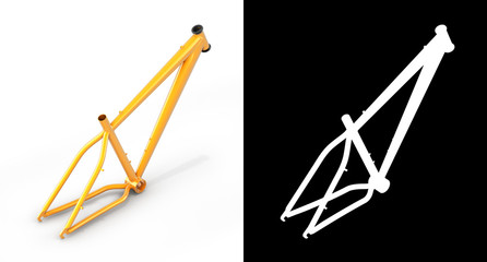 MTB frame isolated on white backround with alpha 3d render