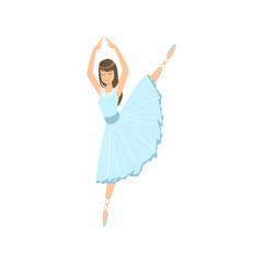 Balleria In Blue Dress Doing Leg Swing Performing
