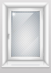 Modern white plastic window with a transparency effect for the group with the glass in vector graphics