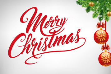 Merry Christmas background with calligraphy text