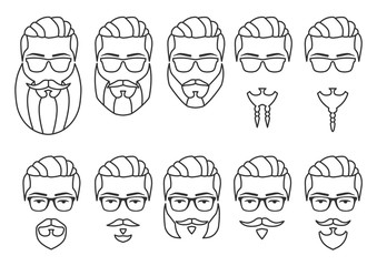 Vector illustration. Set of outline hipster face with mustaches and beards