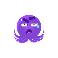 Funny Octopus In Cold Sweat Emoji