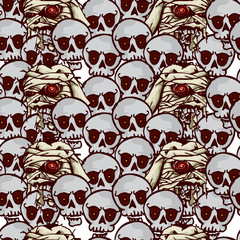 halloween pattern skulls zombies