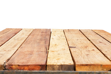 horizontal photo of old retro planked wood table in perspective isolated on white background