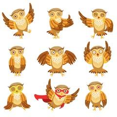 Cute Brown Owl Emoji Icon Set