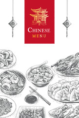 Chinese menu colorful illustration.