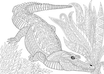 Stylized cartoon crocodile (alligator), jungle foliage. Freehand sketch for adult anti stress coloring book page with doodle and zentangle elements.