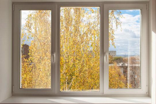 New white window overlook autumn yellow trees