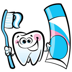 Happy cartoon molar tooth character holding dental toothbrush an