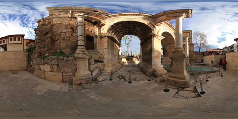 360 degree spherical panorama from Turkey, Antalya. Hadrian's Gate in old city. The ancient building in the historic center of the city.