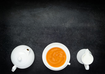 Black Coffee with Milk, Teapot and Copy Space